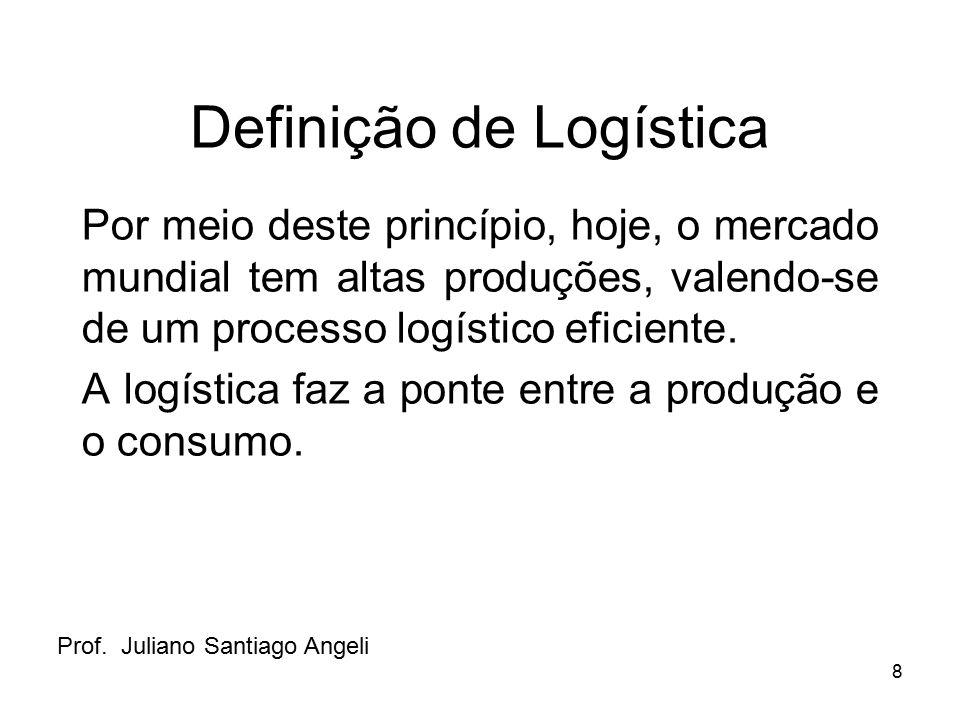 8 Definição de Logística Por meio deste princípio, hoje, o mercado mundial tem altas produções, valendo-se de um processo logístico eficiente. A logís