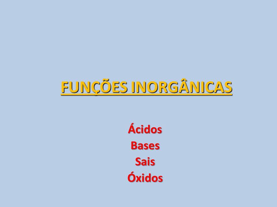 FUNÇÕES INORGÂNICAS ÁcidosBasesSaisÓxidos