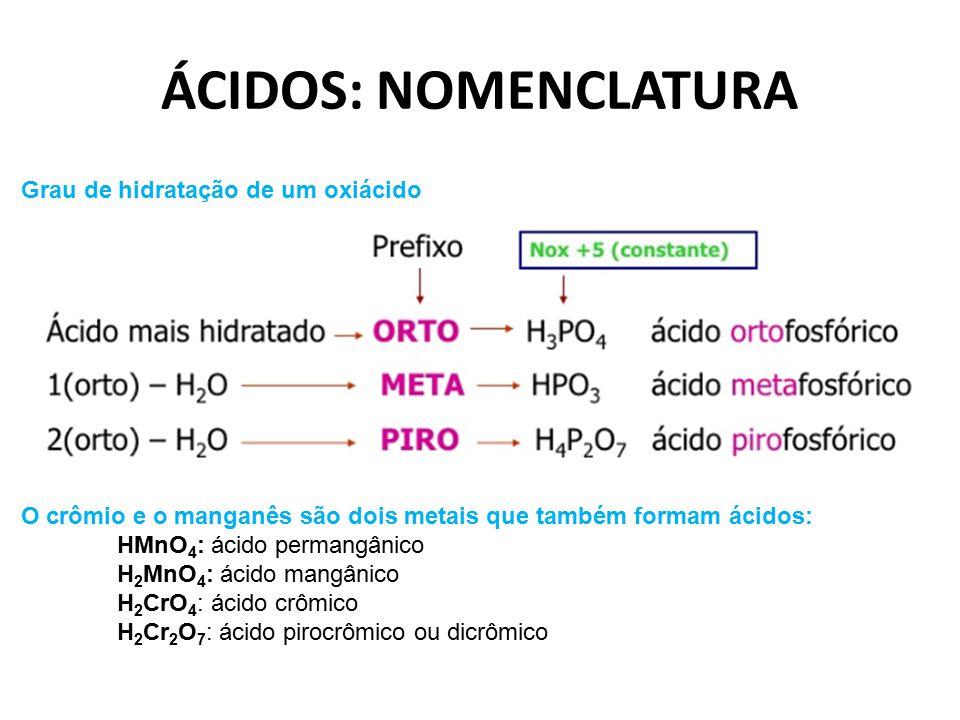 Grau de hidratação de um oxiácido O crômio e o manganês são dois metais que também formam ácidos: HMnO 4 : ácido permangânico H 2 MnO 4 : ácido mangân
