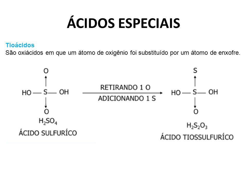 ÁCIDOS ESPECIAIS Tioácidos São oxiácidos em que um átomo de oxigênio foi substituído por um átomo de enxofre.