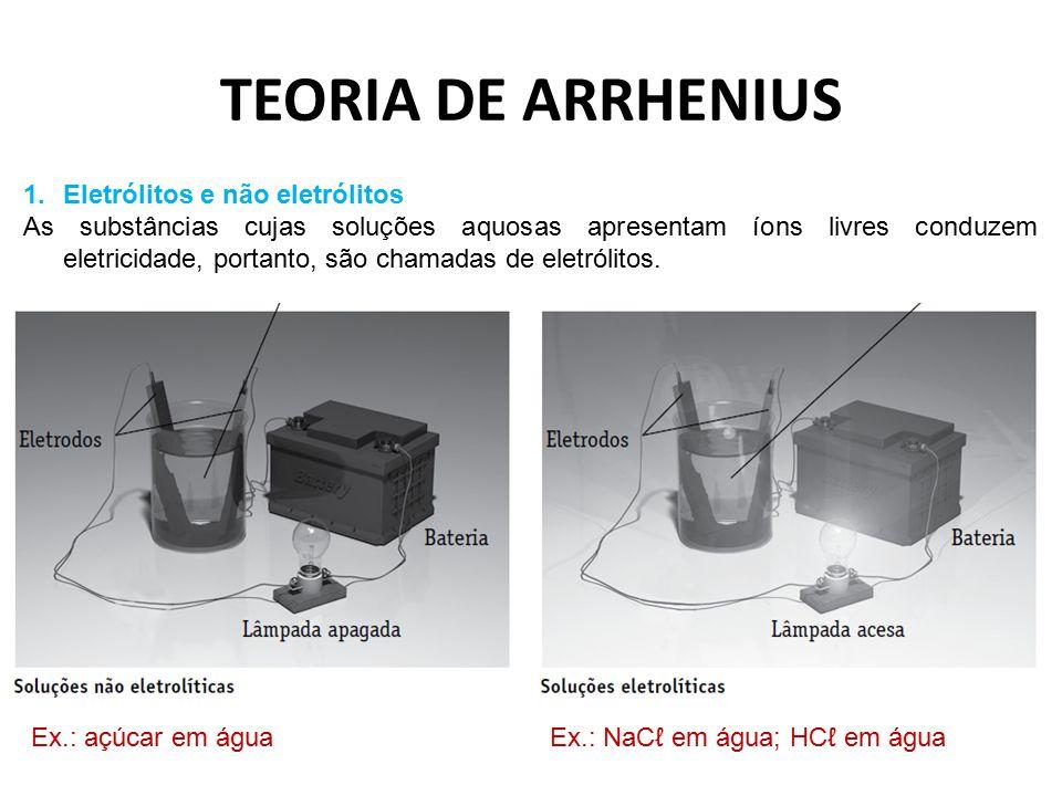 TEORIA DE ARRHENIUS 1.Eletrólitos e não eletrólitos As substâncias cujas soluções aquosas apresentam íons livres conduzem eletricidade, portanto, são