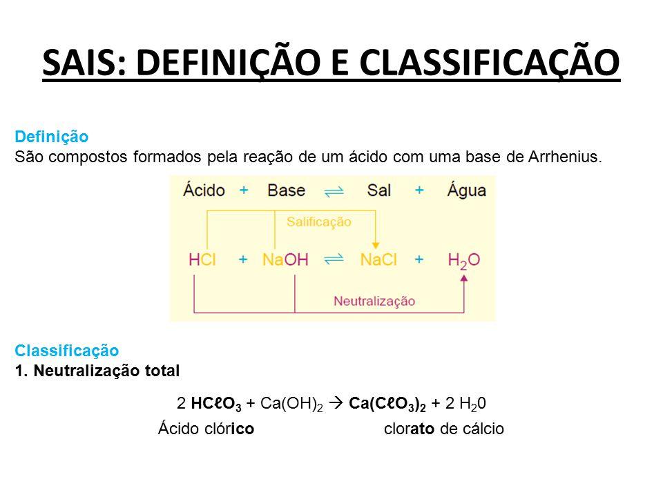SAIS: DEFINIÇÃO E CLASSIFICAÇÃO Definição São compostos formados pela reação de um ácido com uma base de Arrhenius. Classificação 1. Neutralização tot