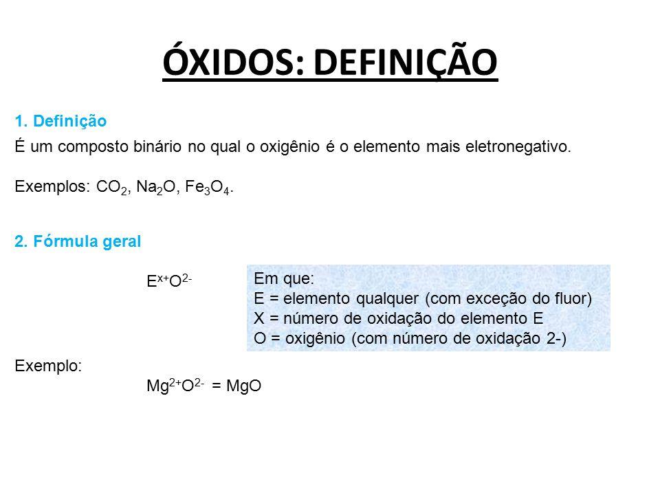ÓXIDOS: DEFINIÇÃO 1. Definição É um composto binário no qual o oxigênio é o elemento mais eletronegativo. Exemplos: CO 2, Na 2 O, Fe 3 O 4. 2. Fórmula