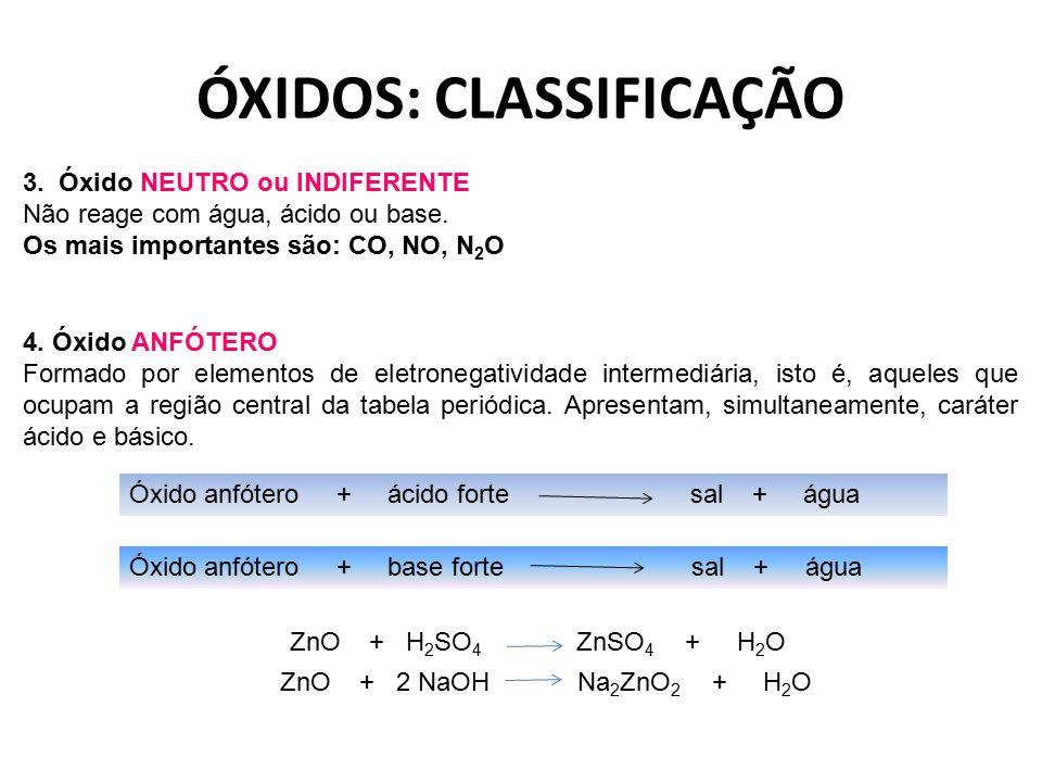 ÓXIDOS: CLASSIFICAÇÃO 3. Óxido NEUTRO ou INDIFERENTE Não reage com água, ácido ou base. Os mais importantes são: CO, NO, N 2 O 4. Óxido ANFÓTERO Forma