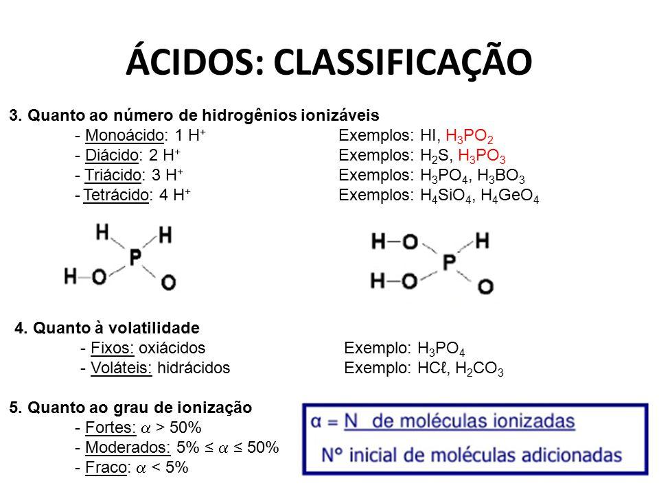 ÁCIDOS: CLASSIFICAÇÃO 4. Quanto à volatilidade - Fixos: oxiácidos Exemplo: H 3 PO 4 - Voláteis: hidrácidosExemplo: HCℓ, H 2 CO 3 3. Quanto ao número d