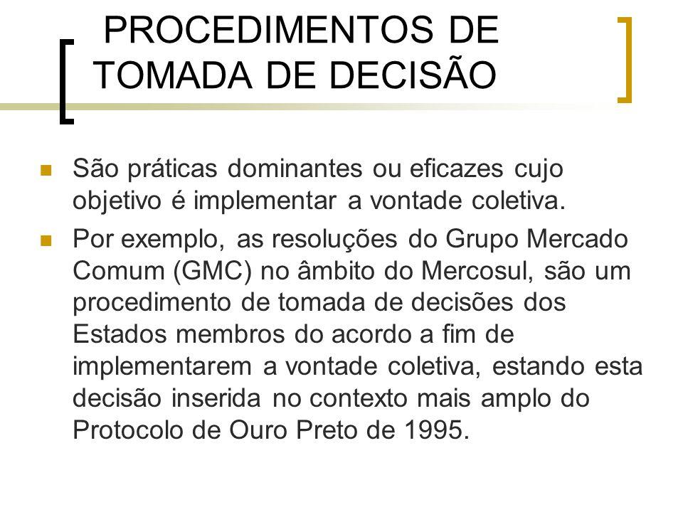 PROCEDIMENTOS DE TOMADA DE DECISÃO São práticas dominantes ou eficazes cujo objetivo é implementar a vontade coletiva.