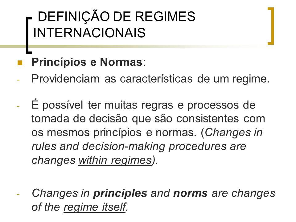 DEFINIÇÃO DE REGIMES INTERNACIONAIS Princípios e Normas: - Providenciam as características de um regime.
