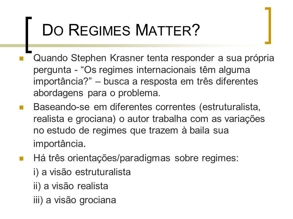 D O R EGIMES M ATTER .