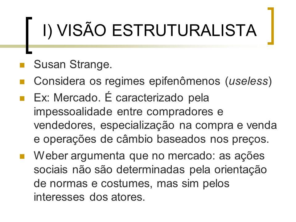 I) VISÃO ESTRUTURALISTA Susan Strange. Considera os regimes epifenômenos (useless) Ex: Mercado.