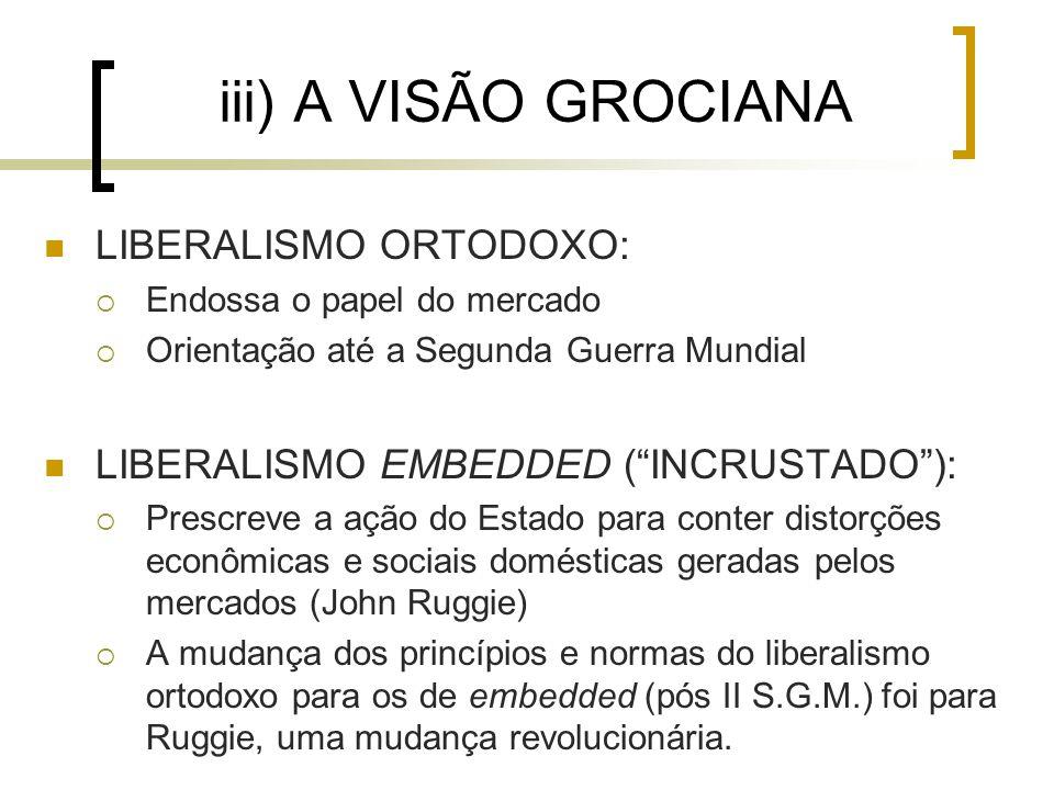iii) A VISÃO GROCIANA LIBERALISMO ORTODOXO:  Endossa o papel do mercado  Orientação até a Segunda Guerra Mundial LIBERALISMO EMBEDDED ( INCRUSTADO ):  Prescreve a ação do Estado para conter distorções econômicas e sociais domésticas geradas pelos mercados (John Ruggie)  A mudança dos princípios e normas do liberalismo ortodoxo para os de embedded (pós II S.G.M.) foi para Ruggie, uma mudança revolucionária.