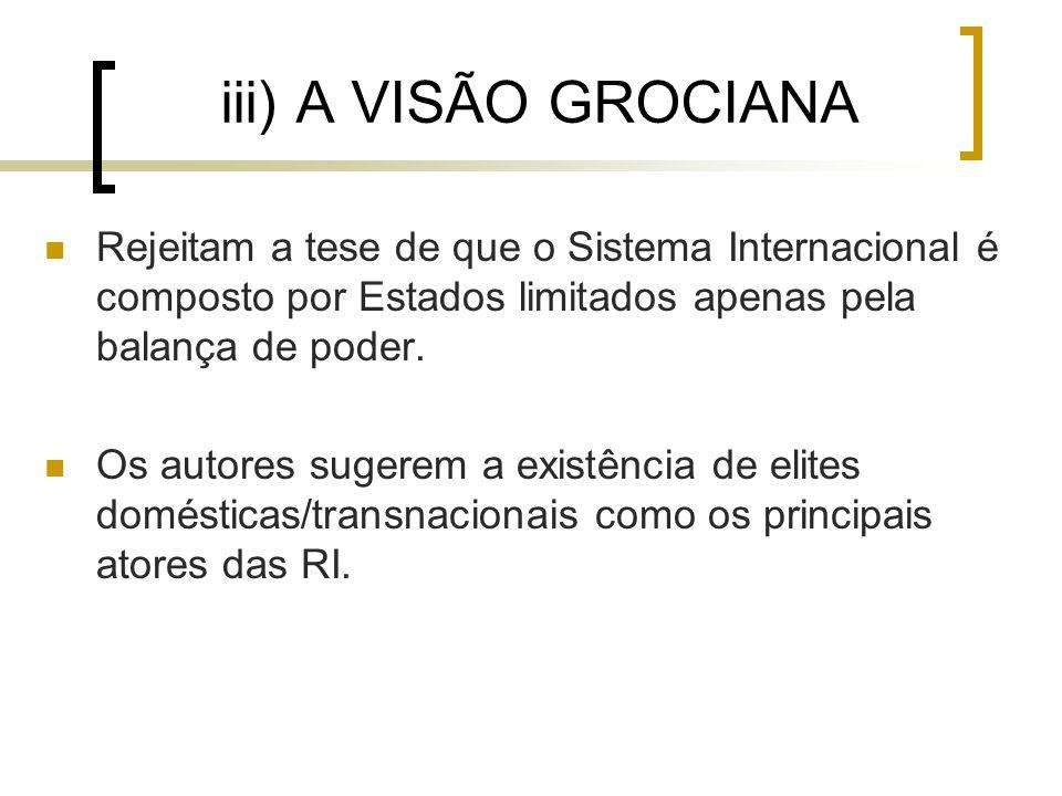 iii) A VISÃO GROCIANA Rejeitam a tese de que o Sistema Internacional é composto por Estados limitados apenas pela balança de poder.