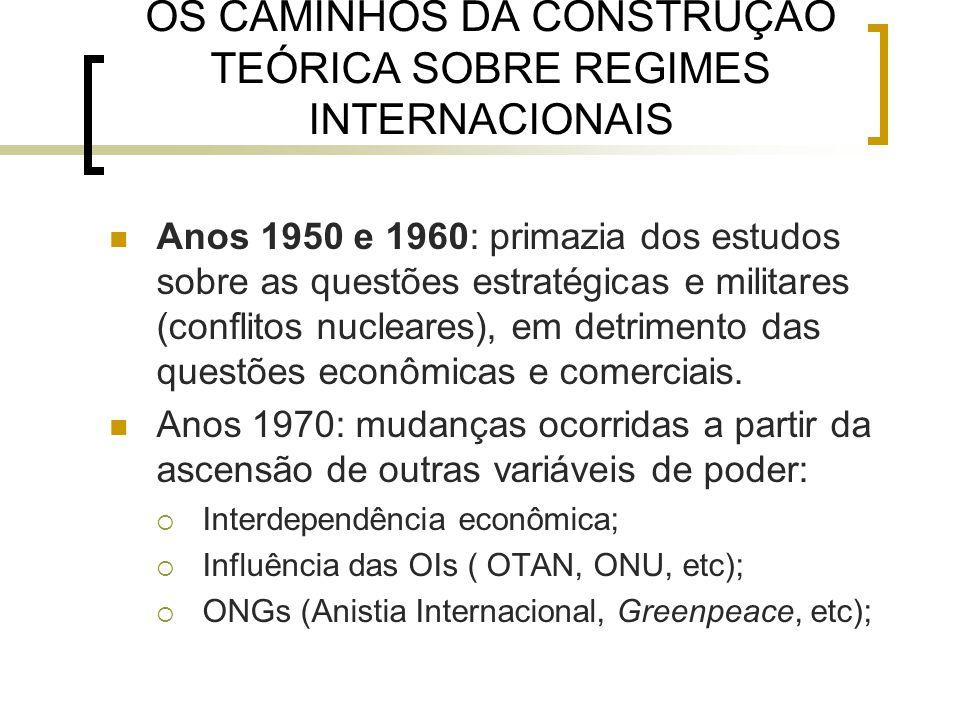 OS CAMINHOS DA CONSTRUÇÃO TEÓRICA SOBRE REGIMES INTERNACIONAIS Anos 1950 e 1960: primazia dos estudos sobre as questões estratégicas e militares (conflitos nucleares), em detrimento das questões econômicas e comerciais.