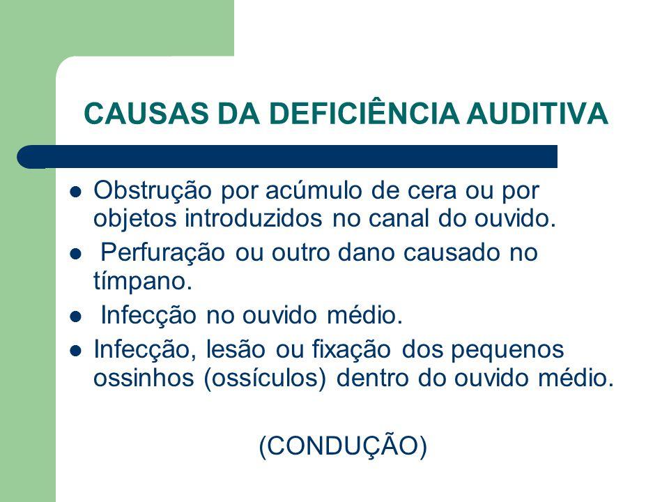 CAUSAS DA DEFICIÊNCIA AUDITIVA Obstrução por acúmulo de cera ou por objetos introduzidos no canal do ouvido. Perfuração ou outro dano causado no tímpa