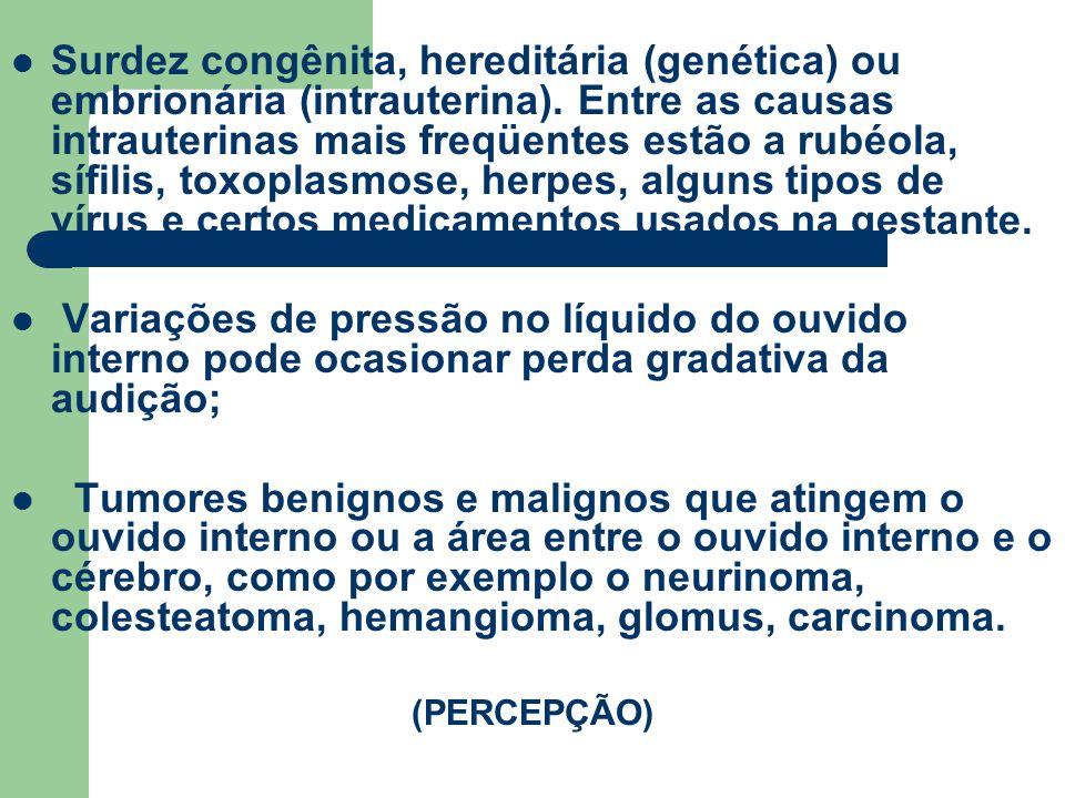 Surdez congênita, hereditária (genética) ou embrionária (intrauterina). Entre as causas intrauterinas mais freqüentes estão a rubéola, sífilis, toxopl