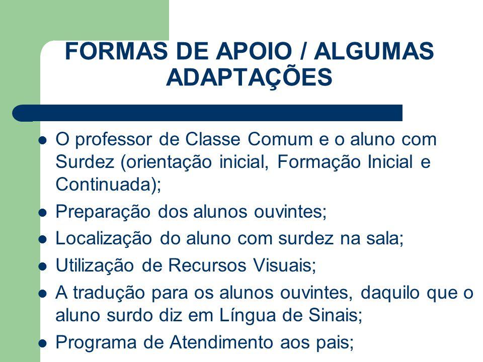 FORMAS DE APOIO / ALGUMAS ADAPTAÇÕES O professor de Classe Comum e o aluno com Surdez (orientação inicial, Formação Inicial e Continuada); Preparação