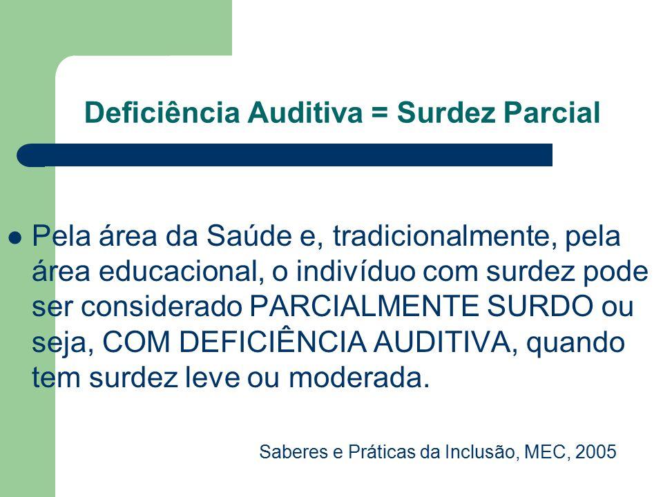 Deficiência Auditiva = Surdez Parcial Pela área da Saúde e, tradicionalmente, pela área educacional, o indivíduo com surdez pode ser considerado PARCI