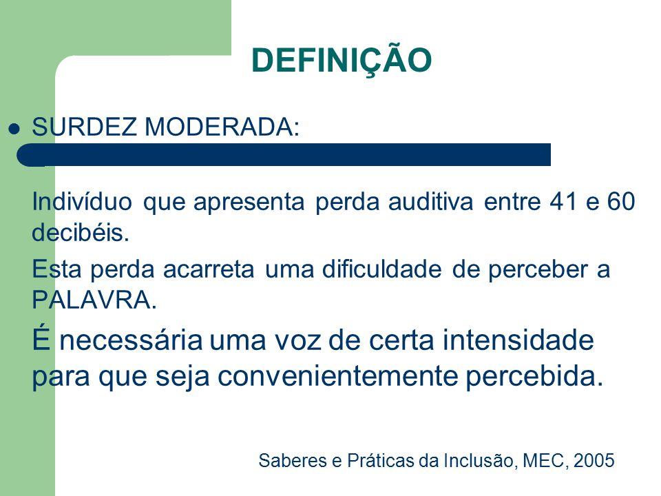 SURDEZ É considerado indivíduo SURDO, aquele que apresenta perda auditiva maior que 61 decibéis.