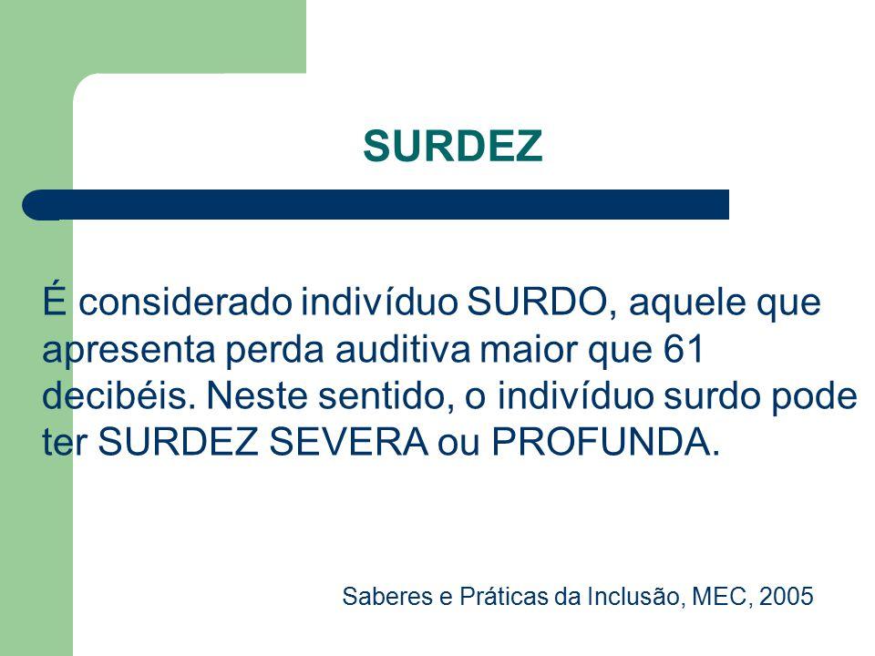 SURDEZ É considerado indivíduo SURDO, aquele que apresenta perda auditiva maior que 61 decibéis. Neste sentido, o indivíduo surdo pode ter SURDEZ SEVE