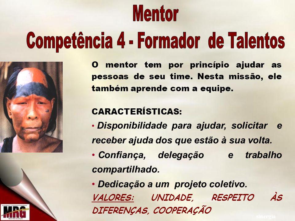 sinergia O mentor tem por princípio ajudar as pessoas de seu time.