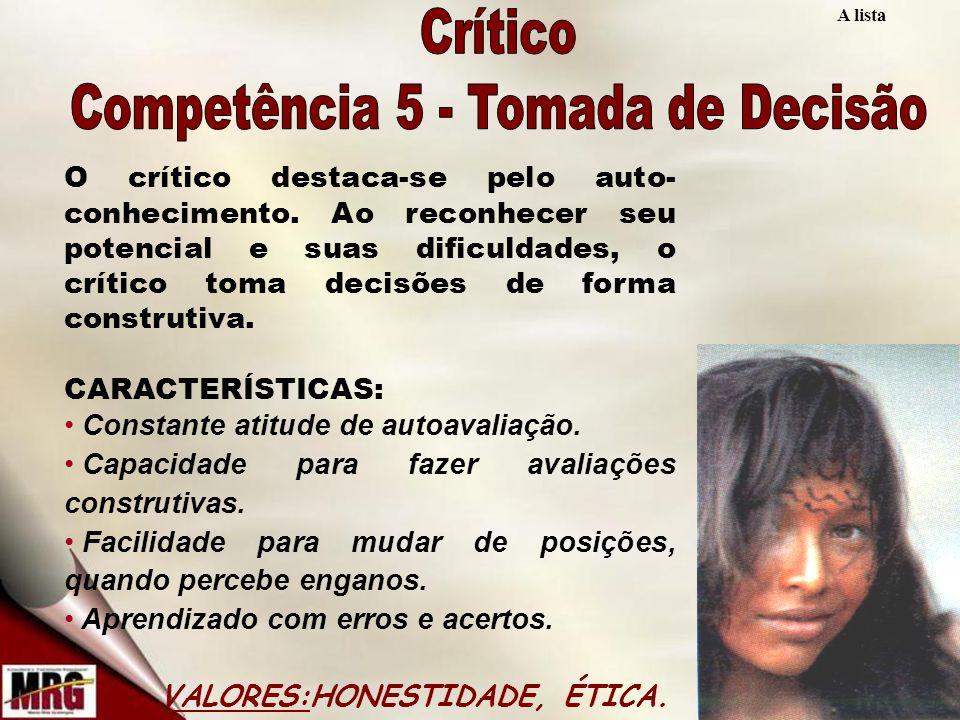 A lista O crítico destaca-se pelo auto- conhecimento.