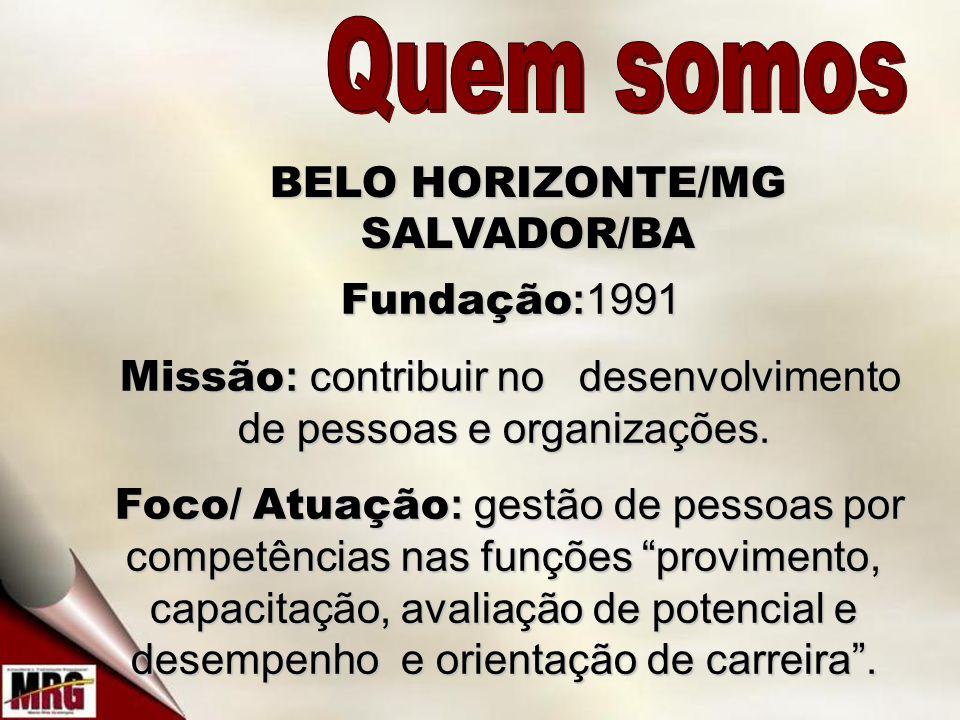 BELO HORIZONTE/MG SALVADOR/BA Fundação :1991 Fundação :1991 Missão : contribuir no desenvolvimento de pessoas e organizações.