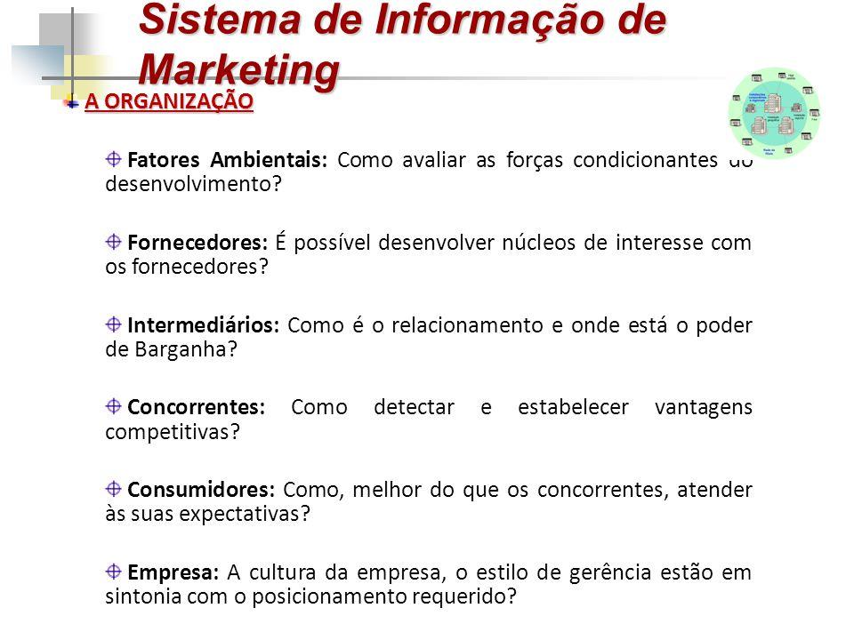 Sistema de Informação de Marketing A ORGANIZAÇÃO Fatores Ambientais: Como avaliar as forças condicionantes do desenvolvimento? Fornecedores: É possíve
