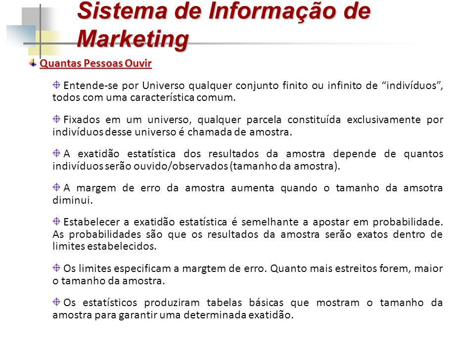 """Sistema de Informação de Marketing Quantas Pessoas Ouvir Entende-se por Universo qualquer conjunto finito ou infinito de """"indivíduos"""", todos com uma c"""