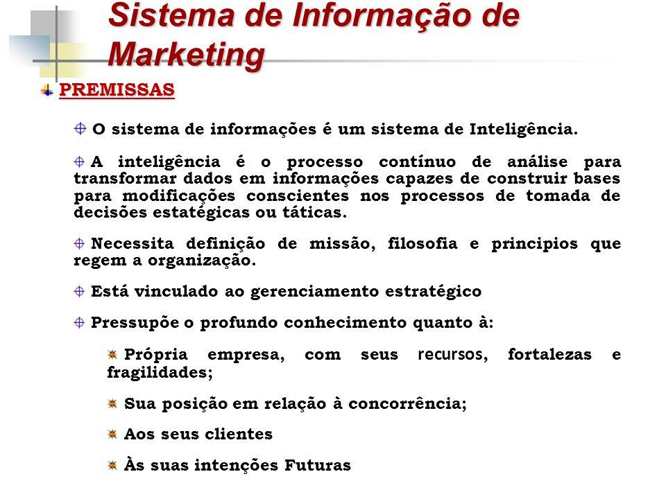 Sistema de Informação de Marketing PREMISSAS O sistema de informações é um sistema de Inteligência. A inteligência é o processo contínuo de análise pa