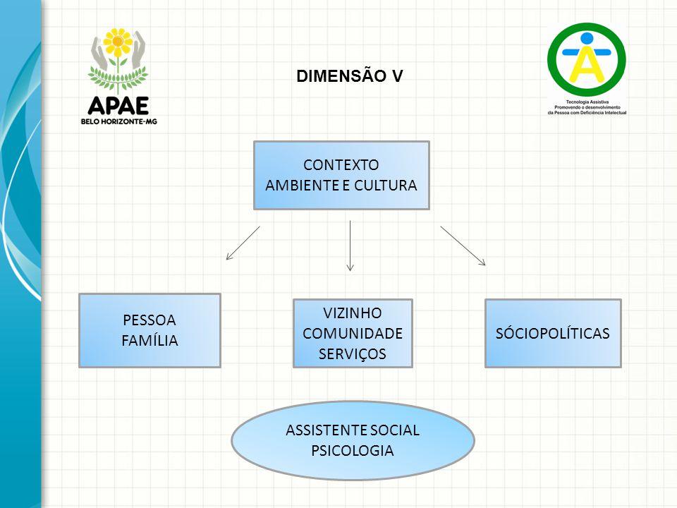DIMENSÃO V CONTEXTO AMBIENTE E CULTURA PESSOA FAMÍLIA VIZINHO COMUNIDADE SERVIÇOS SÓCIOPOLÍTICAS ASSISTENTE SOCIAL PSICOLOGIA