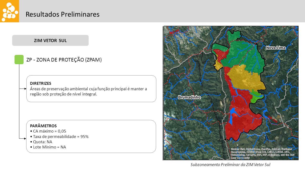 Resultados Preliminares ZIM VETOR SUL Subzoneamento Preliminar da ZIM Vetor Sul ZP - ZONA DE PROTEÇÃO (ZPAM) DIRETRIZES Áreas de preservação ambiental cuja função principal é manter a região sob proteção de nível integral.