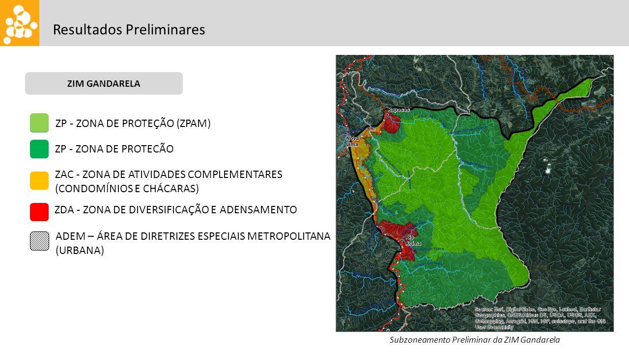 Resultados Preliminares ZIM GANDARELA Subzoneamento Preliminar da ZIM Gandarela ZP - ZONA DE PROTEÇÃO (ZPAM) ZP - ZONA DE PROTECÃO ZAC - ZONA DE ATIVIDADES COMPLEMENTARES (CONDOMĺNIOS E CHÁCARAS) ZDA - ZONA DE DIVERSIFICAÇÃO E ADENSAMENTO ADEM – ÁREA DE DIRETRIZES ESPECIAIS METROPOLITANA (URBANA)
