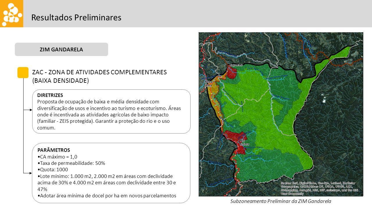 Resultados Preliminares ZIM GANDARELA Subzoneamento Preliminar da ZIM Gandarela ZAC - ZONA DE ATIVIDADES COMPLEMENTARES (BAIXA DENSIDADE) DIRETRIZES Proposta de ocupação de baixa e média densidade com diversificação de usos e incentivo ao turismo e ecoturismo.