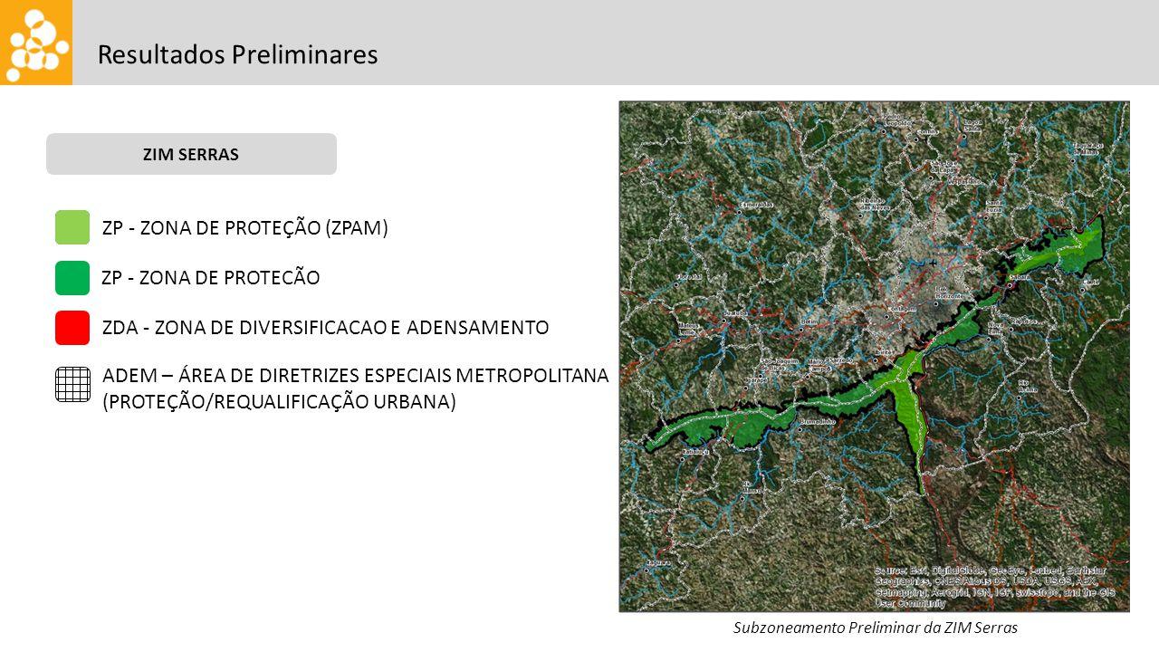 Resultados Preliminares ZIM SERRAS Subzoneamento Preliminar da ZIM Serras ZP - ZONA DE PROTEÇÃO (ZPAM) ZP - ZONA DE PROTECÃO ZDA - ZONA DE DIVERSIFICACAO E ADENSAMENTO ADEM – ÁREA DE DIRETRIZES ESPECIAIS METROPOLITANA (PROTEÇÃO/REQUALIFICAÇÃO URBANA)