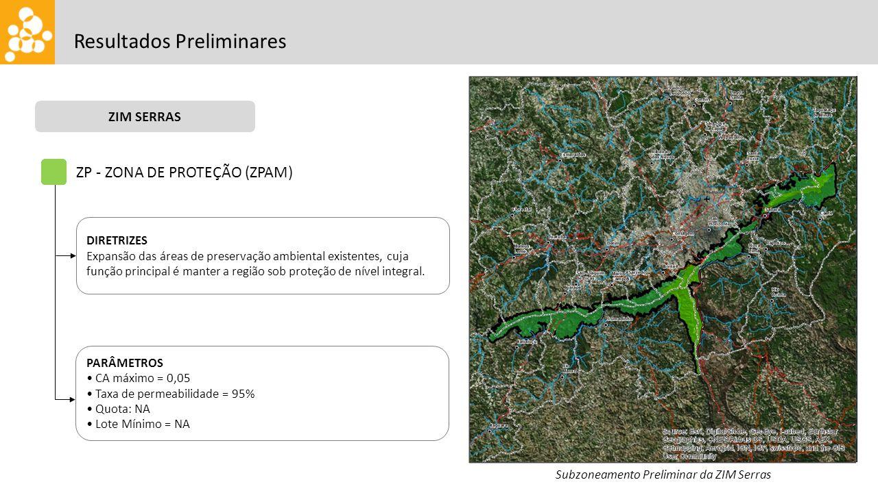 Resultados Preliminares ZIM SERRAS Subzoneamento Preliminar da ZIM Serras ZP - ZONA DE PROTEÇÃO (ZPAM) DIRETRIZES Expansão das áreas de preservação ambiental existentes, cuja função principal é manter a região sob proteção de nível integral.