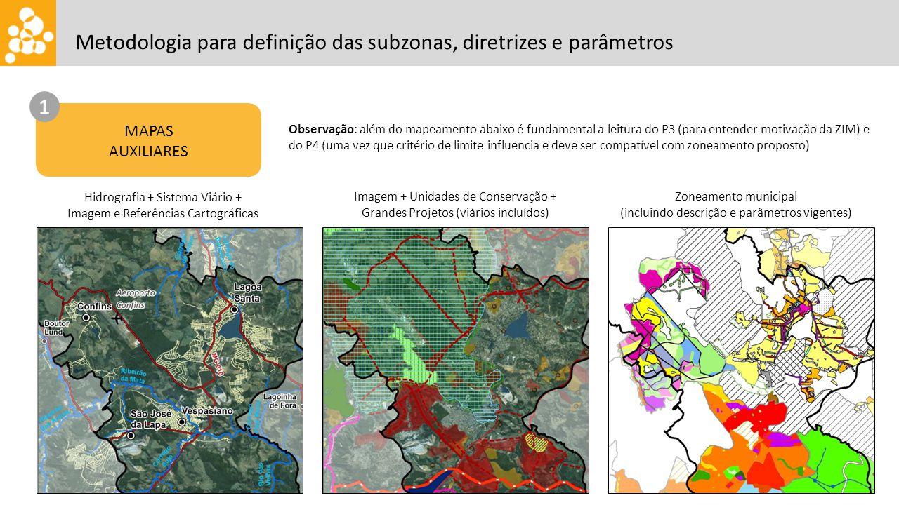 Metodologia para definição das subzonas, diretrizes e parâmetros Hidrografia + Sistema Viário + Imagem e Referências Cartográficas Imagem + Unidades de Conservação + Grandes Projetos (viários incluídos) Zoneamento municipal (incluindo descrição e parâmetros vigentes) MAPAS AUXILIARES 1 Observação: além do mapeamento abaixo é fundamental a leitura do P3 (para entender motivação da ZIM) e do P4 (uma vez que critério de limite influencia e deve ser compatível com zoneamento proposto)