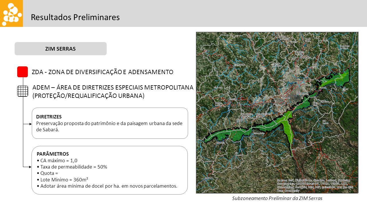 Resultados Preliminares ZIM SERRAS Subzoneamento Preliminar da ZIM Serras ZDA - ZONA DE DIVERSIFICAÇÃO E ADENSAMENTO ADEM – ÁREA DE DIRETRIZES ESPECIAIS METROPOLITANA (PROTEÇÃO/REQUALIFICAÇÃO URBANA) DIRETRIZES Preservação proposta do patrimônio e da paisagem urbana da sede de Sabará.