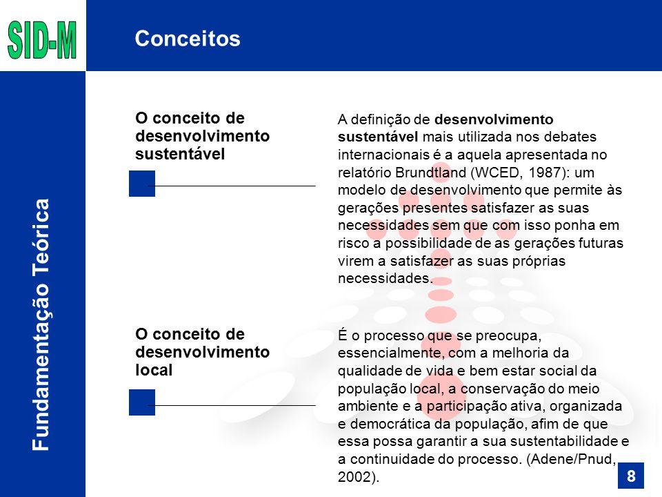 A definição de desenvolvimento sustentável mais utilizada nos debates internacionais é a aquela apresentada no relatório Brundtland (WCED, 1987): um modelo de desenvolvimento que permite às gerações presentes satisfazer as suas necessidades sem que com isso ponha em risco a possibilidade de as gerações futuras virem a satisfazer as suas próprias necessidades.