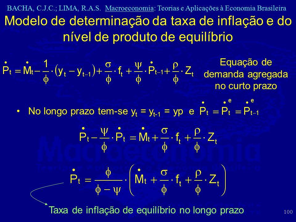 BACHA, C.J.C.; LIMA, R.A.S. Macroeconomia: Teorias e Aplicações à Economia Brasileira 100 Modelo de determinação da taxa de inflação e do nível de pro