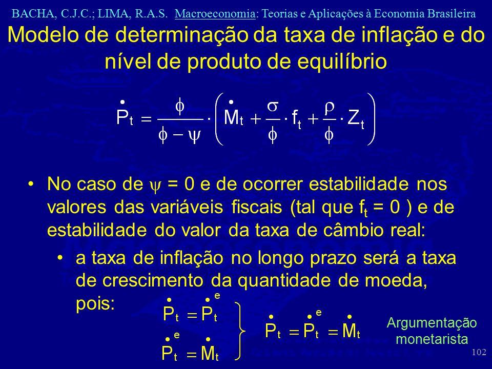 BACHA, C.J.C.; LIMA, R.A.S. Macroeconomia: Teorias e Aplicações à Economia Brasileira 102 Modelo de determinação da taxa de inflação e do nível de pro
