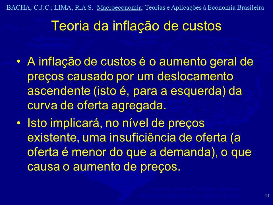 BACHA, C.J.C.; LIMA, R.A.S. Macroeconomia: Teorias e Aplicações à Economia Brasileira 11 A inflação de custos é o aumento geral de preços causado por