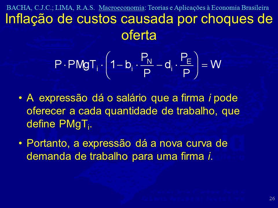 BACHA, C.J.C.; LIMA, R.A.S. Macroeconomia: Teorias e Aplicações à Economia Brasileira 26 Inflação de custos causada por choques de oferta A expressão