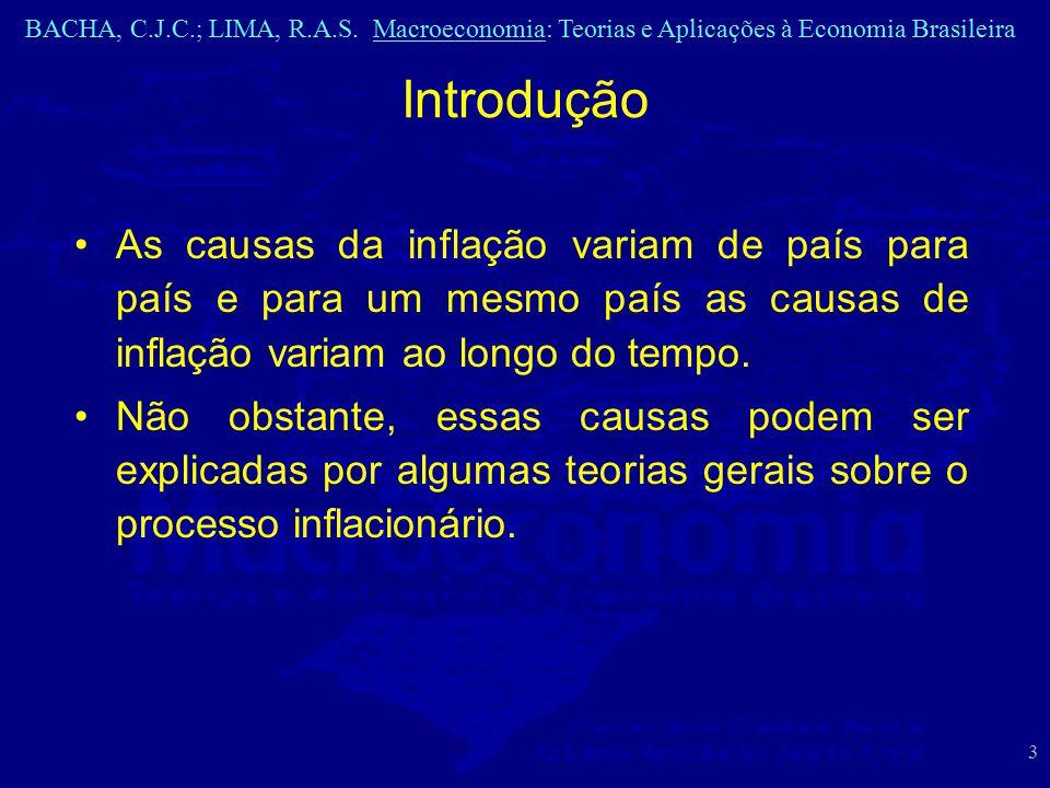 BACHA, C.J.C.; LIMA, R.A.S. Macroeconomia: Teorias e Aplicações à Economia Brasileira 3 As causas da inflação variam de país para país e para um mesmo