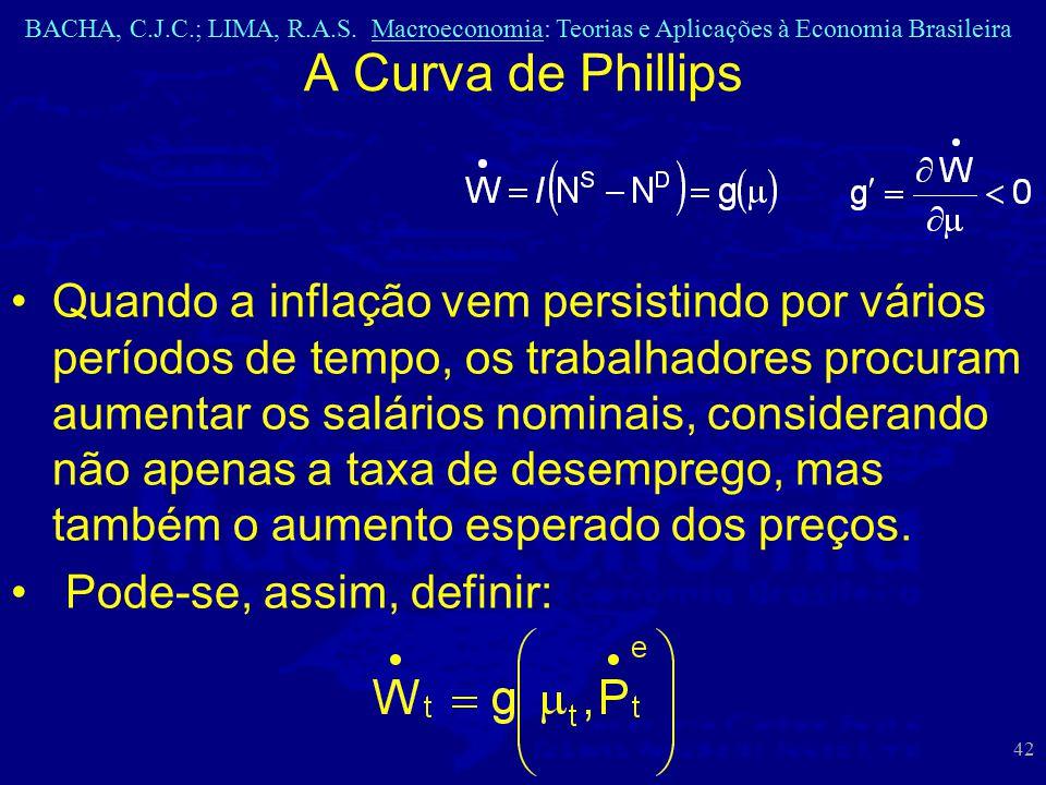 BACHA, C.J.C.; LIMA, R.A.S. Macroeconomia: Teorias e Aplicações à Economia Brasileira 42 A Curva de Phillips Quando a inflação vem persistindo por vár