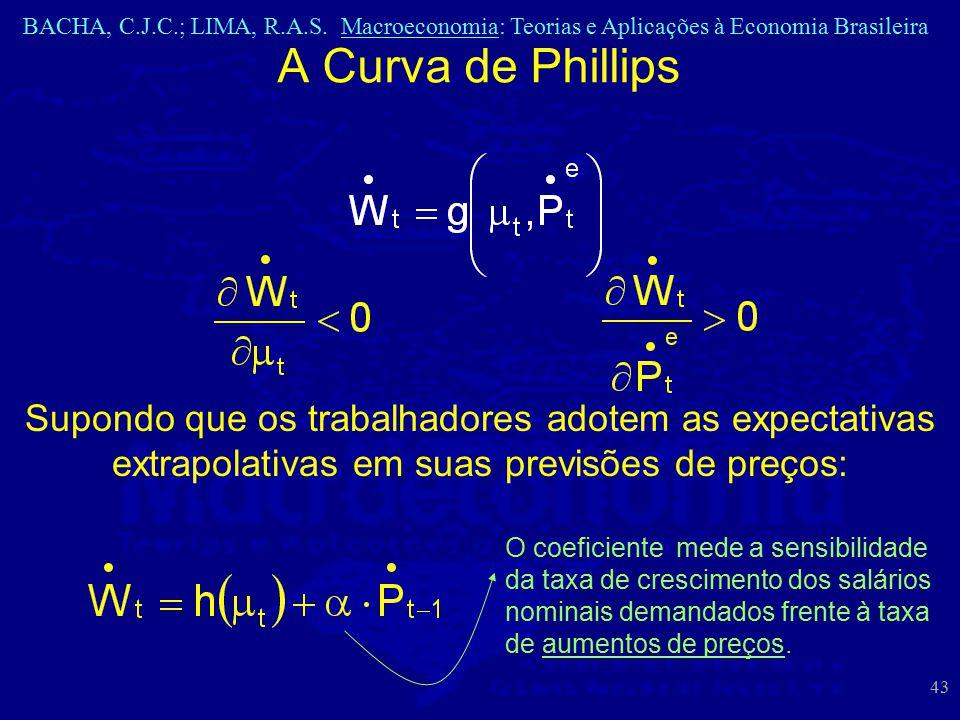 BACHA, C.J.C.; LIMA, R.A.S. Macroeconomia: Teorias e Aplicações à Economia Brasileira 43 A Curva de Phillips Supondo que os trabalhadores adotem as ex