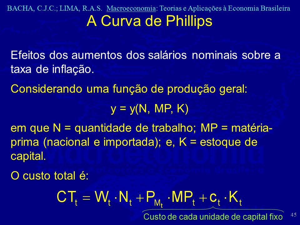 BACHA, C.J.C.; LIMA, R.A.S. Macroeconomia: Teorias e Aplicações à Economia Brasileira 45 A Curva de Phillips Efeitos dos aumentos dos salários nominai