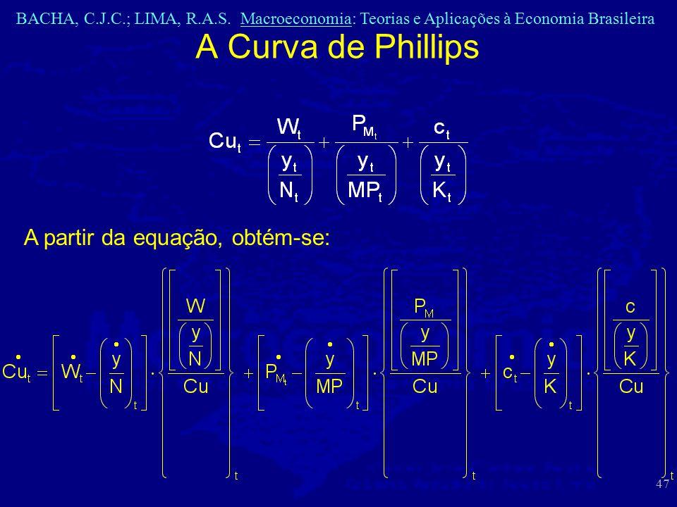 BACHA, C.J.C.; LIMA, R.A.S. Macroeconomia: Teorias e Aplicações à Economia Brasileira 47 A Curva de Phillips A partir da equação, obtém-se: