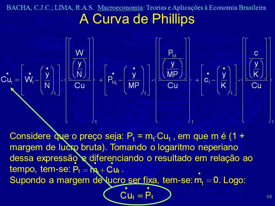BACHA, C.J.C.; LIMA, R.A.S. Macroeconomia: Teorias e Aplicações à Economia Brasileira 48 A Curva de Phillips Considere que o preço seja: P t = m t  C