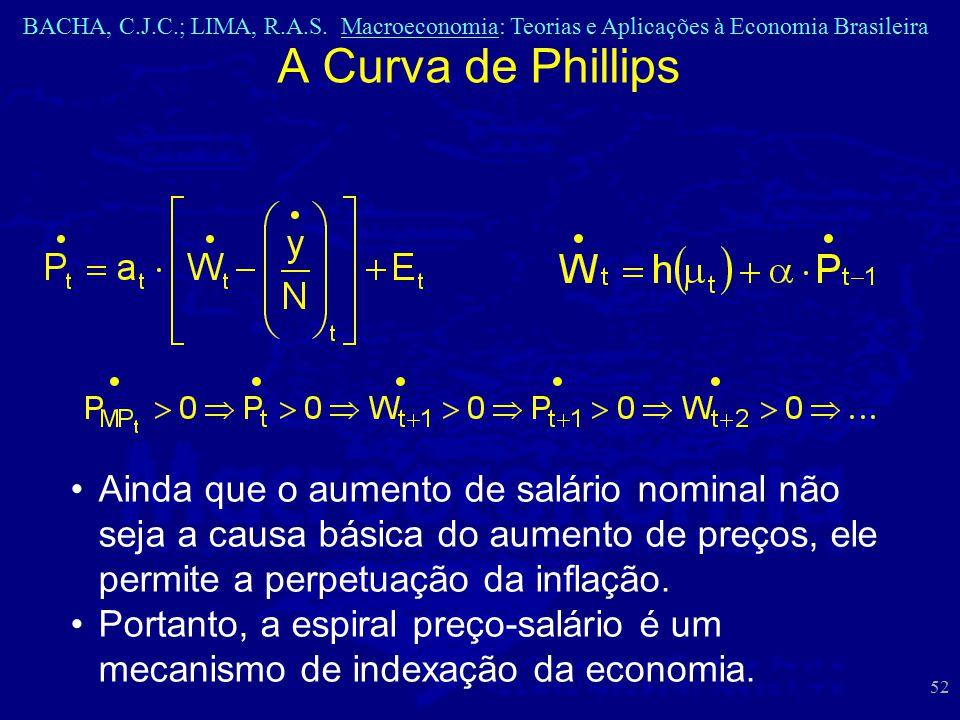 BACHA, C.J.C.; LIMA, R.A.S. Macroeconomia: Teorias e Aplicações à Economia Brasileira 52 A Curva de Phillips Ainda que o aumento de salário nominal nã