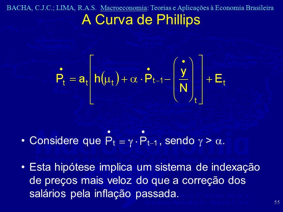 BACHA, C.J.C.; LIMA, R.A.S. Macroeconomia: Teorias e Aplicações à Economia Brasileira 55 A Curva de Phillips Considere que, sendo  > . Esta hipótese