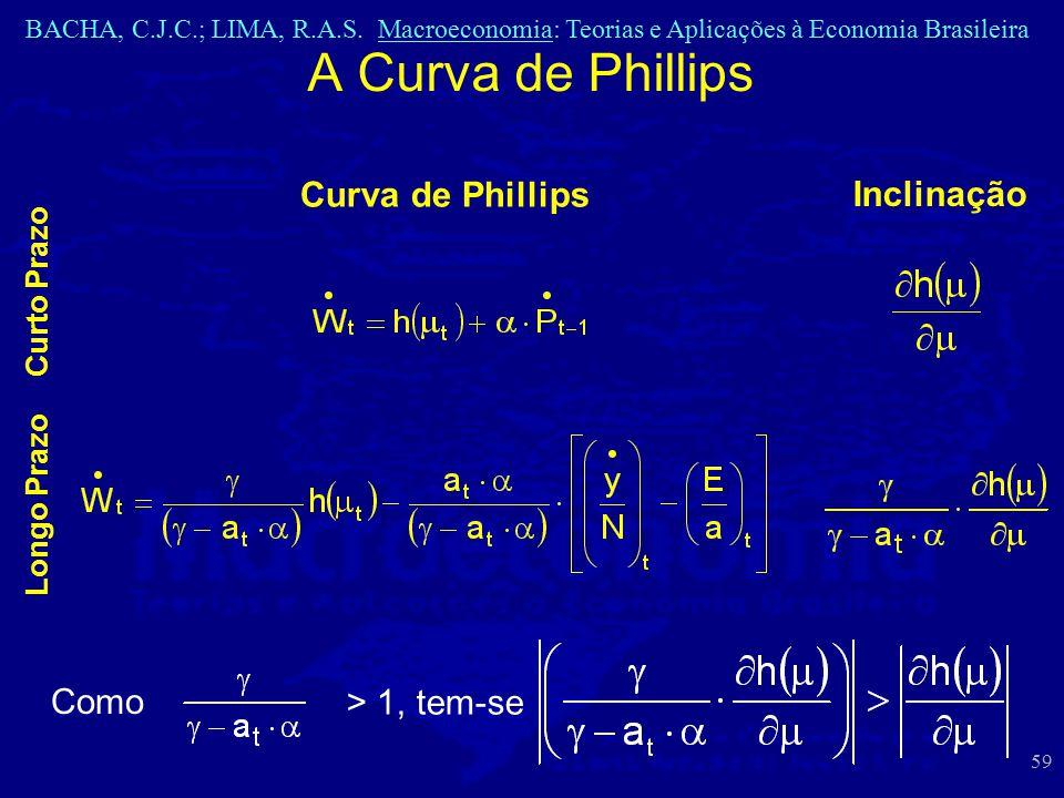 BACHA, C.J.C.; LIMA, R.A.S. Macroeconomia: Teorias e Aplicações à Economia Brasileira 59 A Curva de Phillips Curva de Phillips Longo Prazo Inclinação